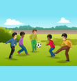 multi ethnic group of kids playing soccer vector image vector image