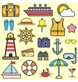 Outline web icon set of journey vacation cruise vector image vector image