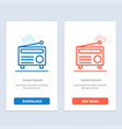 radio fm audio media blue and red download and vector image