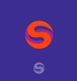 s logo letter orange circle vector image