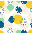 seamless pattern with monstera palm leaves vector image vector image