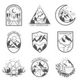 set nine mountain and outdoor adventures vector image