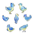 set of blue birds isolated on white hand drawn vector image vector image