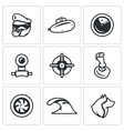 Set of Submarine Icons Captain Boat vector image vector image
