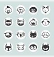 set solid animal circle icons vector image