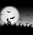 spooky halloween background with graves and black vector image vector image