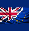 Two torn flags - EU and UK Brexit concept vector image vector image