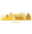 udaipur india city skyline golden silhouette vector image vector image