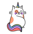 unicorn cat icon fantasy cute animal symbol vector image