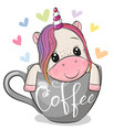 unicorn is sitting in a cup coffee vector image vector image