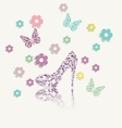 Vintage floral card of perfect shoes vector image vector image