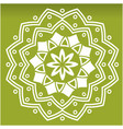 white flower mandala green background image vector image