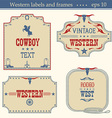 Wild west american labels vintage boards isolated vector image
