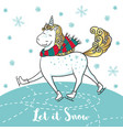 winter card with cute unicorn on skates vector image vector image