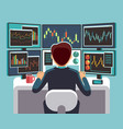 stock market trader looking at multiple computer vector image
