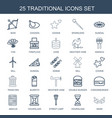 25 traditional icons vector image vector image