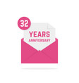 32 years anniversary icon in open letter vector image vector image