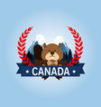 beaver canadian animal scene vector image vector image