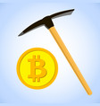 bitcoin mining concept with pickaxe and coin vector image