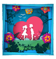 boy and girl love - paper vector image