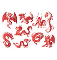 chinese asia red dragon animal silhouettes on vector image vector image