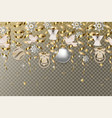 christmas border with gold serpentines and balls vector image vector image
