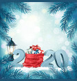 christmas holiday background with 2020 and red vector image vector image