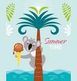 cute fun koala bear on palm tree with ice crea vector image