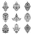 damask floral designs vintage set vector image