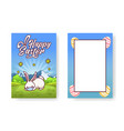 easter bunny is laying on grass in a face mask vector image vector image