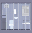 empty prison jail or detention center room with vector image