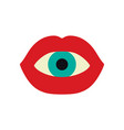 eyeball in a mouth with red lips vector image vector image
