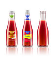 glass bottle with ketchup tomato juice or sauce vector image vector image