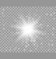 glowing white transparent light with dust vector image vector image