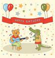 happy birthday animals band cute greeting card vector image