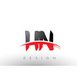 hn h n brush logo letters with red and black vector image vector image