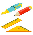 Isometric fountain pen rulers and pencil on white vector image