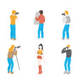 isometric photographers professional equipment vector image