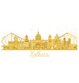 kolkata india city skyline golden silhouette vector image vector image