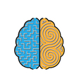 Left and right brain with mazes inside concept vector image vector image