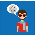 man hipster concept movie cinema film reel icon vector image vector image
