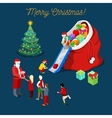Merry Christmas Isometric Greeting Card vector image vector image