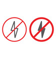 no electricity line and glyph icon prohibited and vector image vector image