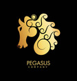 pegasus company gold promotional emblem with vector image vector image