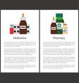 pharmacy medication items set vector image vector image