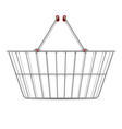 realistic empty supermarket shopping metal basket vector image vector image