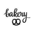 retro bakery calligraphy pretzel vector image