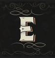 retro style western letter design letter e vector image