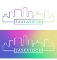saskatoon city skyline colorful linear style vector image vector image
