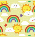 seamless pattern with cute sun rainbow and cloud vector image vector image